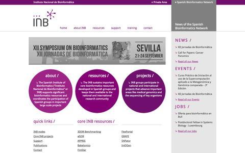 Screenshot of Home Page inab.org - The Spanish Institute of Bioinformatics || Instituto Nacional de Bioinformática || INB - captured Oct. 6, 2014