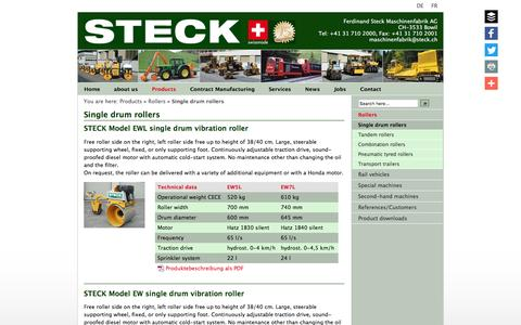 Screenshot of Products Page steck.ch - Steck Maschinenfabrik AG - CH-3533 Bowil | Single drum rollers | Single drum rollers | - captured May 12, 2016