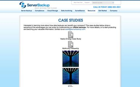 Screenshot of Case Studies Page serverbackup.com - Offsite Data Backup Case Studies | ServerBackupServer Backup - captured Oct. 3, 2014