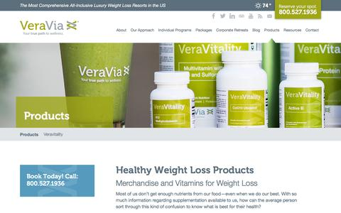 Screenshot of Products Page veraviafit.com - Healthy Weight Loss Products, Supplements and Vitamins | VeraVia - captured Nov. 26, 2015