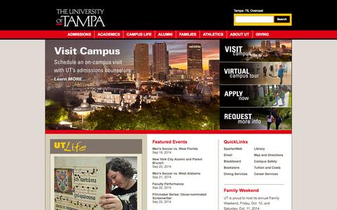 Screenshot of Home Page ut.edu - The University of Tampa - A Private, Florida University - captured Sept. 19, 2014