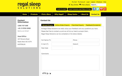 Screenshot of Contact Page regalsleepsolutions.com.au - Contact Regal, Home of Better Mattresses, Lower Prices Everyday - Bed & Mattress Store Melbourne | Regal Sleep Solutions - captured Sept. 30, 2014