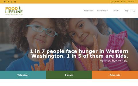 Screenshot of Home Page foodlifeline.org - Food Lifeline – Hunger doesn't have to happen - captured Aug. 16, 2018