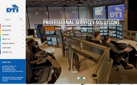 Screenshot of Home Page dtiglobal.com - Legal Process Outsourcing (LPO) & Litigation Solutions | DTI - captured Dec. 7, 2015