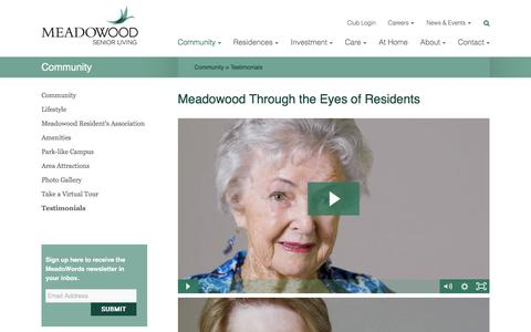 Screenshot of Testimonials Page meadowood.net - Testimonials « Meadowood - captured Sept. 20, 2018