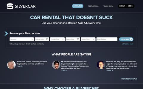 Screenshot of Home Page silvercar.com - Car Rental in Austin, Dallas/Ft. Worth, Denver, Los Angeles, Miami, Phoenix, and San Francisco - Rent an Audi A4 at AUS, DAL, DEN, DFW, LAX, MIA, PHX, or SFO - captured Sept. 17, 2014