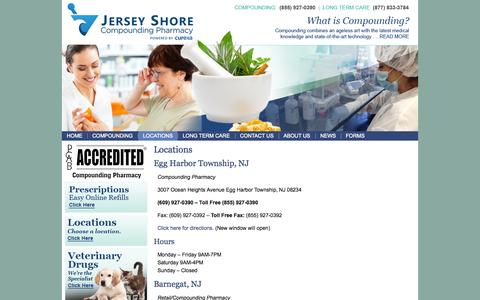 Screenshot of Locations Page jspharmacy.com - Locations Jersey Shore Pharmacy. - captured Oct. 6, 2014