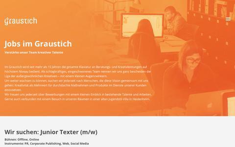 Screenshot of Jobs Page graustich.com - Jobs | Agentur Graustich - captured Nov. 24, 2018