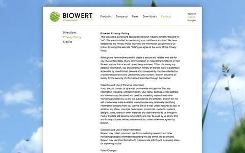 Screenshot of Privacy Page biowert.de - BIOWERT - bio based industry - captured Oct. 5, 2014