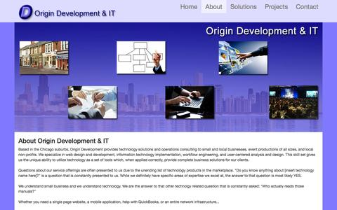 Screenshot of About Page origindev.com - About Origin Development & IT - captured Oct. 7, 2014
