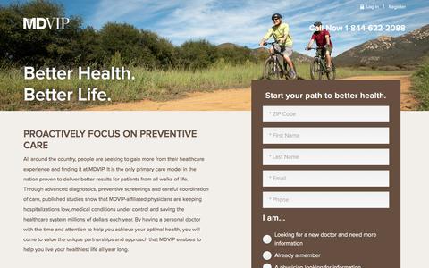 Screenshot of Landing Page mdvip.com - MDVIP | Believe in Life-Changing Healthcare - captured Dec. 1, 2016