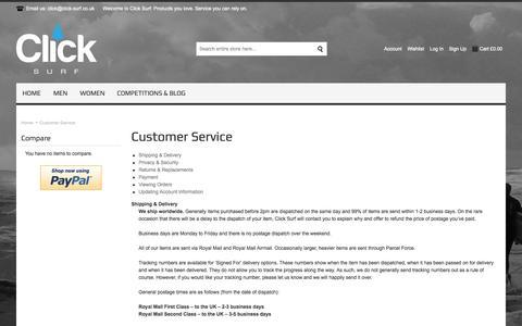 Screenshot of Support Page click-surf.co.uk - Customer Service - captured Sept. 30, 2014