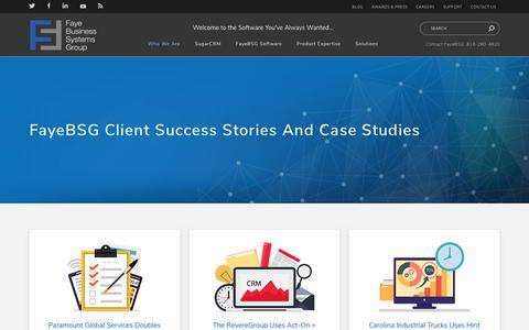 Screenshot of Case Studies Page fayebsg.com - FayeBSG Client Success Stories | FayeBSG - captured Oct. 7, 2018