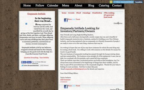 Screenshot of Blog empanadaintifada.com - Empanada Intifada: The Making of a Gourmet Food Truck - captured Sept. 29, 2014