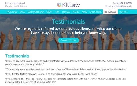 Screenshot of Testimonials Page kklaw.co.uk - Testimonials - Solicitors in Hemel Hempstead, Lawyers in Hemel Hempstead | KK Law - captured Oct. 14, 2018