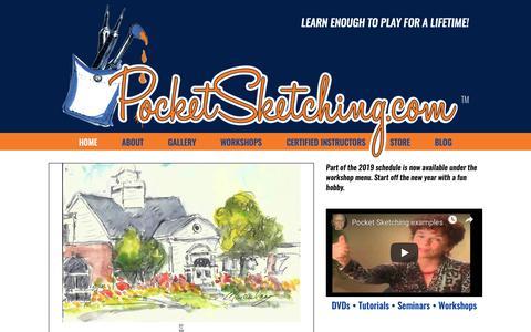 Screenshot of Home Page pocketsketching.com - Pocket Sketching | Do a watercolor sketch in <25 min. - captured Nov. 5, 2018