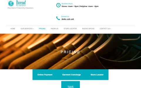 Screenshot of Pricing Page buenoindia.com - Best Dry Cleaning Service in Mumbai - Bueno! - captured Oct. 16, 2018