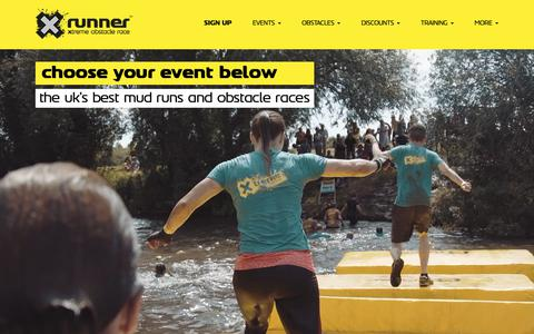 Screenshot of Signup Page xrunner.co.uk - Find an event | UK Best Mud Runs & Obstacle Races | X-Runner - captured Nov. 5, 2018