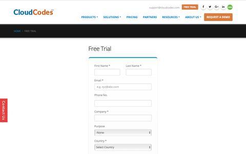 Screenshot of Trial Page cloudcodes.com - Free Trial – Contact CloudCodes Experts For A Free Trial - captured April 8, 2019