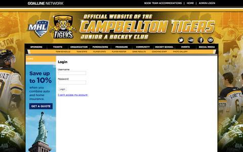 Screenshot of Login Page goalline.ca - Campbellton Tigers Jr. A Hockey Club powered by GOALLINE.ca - captured June 5, 2016