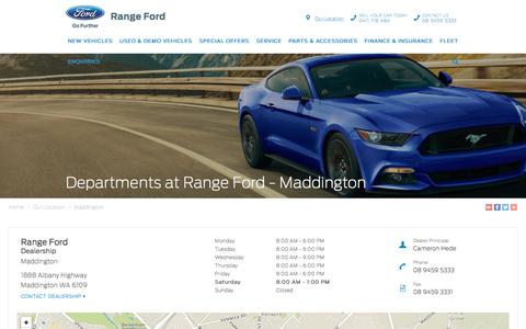 Screenshot of Maps & Directions Page rangeford.com.au - Departments - Range Ford | Maddington Dealership - captured Sept. 21, 2018