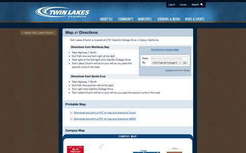Screenshot of Maps & Directions Page tlc.org - Twin Lakes Church / Map and Driving Directions - captured Oct. 6, 2014