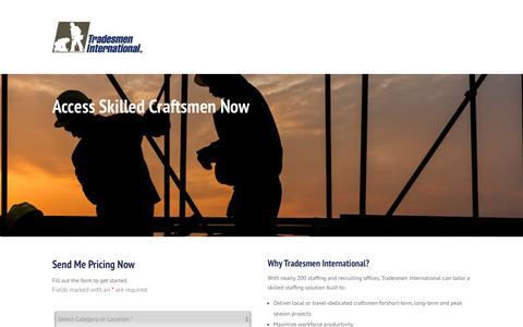 Screenshot of Pricing Page tradesmeninternational.com - Access Skilled Craftsmen Now - Web Lead - Pricing - Tradesmen International - captured Sept. 18, 2018