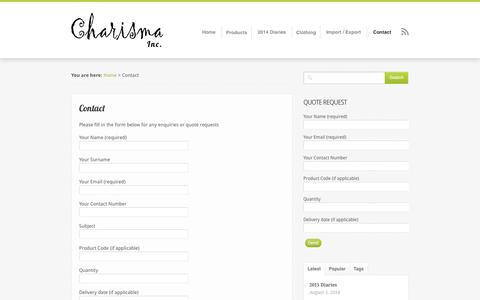 Screenshot of Contact Page charisma-inc.co.za - Contact - Charisma Inc - For Your Image | Charisma-Inc.co.za - captured Oct. 2, 2014