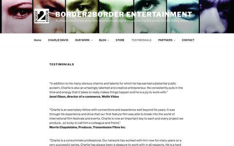Screenshot of Testimonials Page border2border.ca - TESTIMONIALS | Border2Border Entertainment - captured March 26, 2017