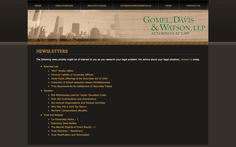 Screenshot of Press Page gomeldavis.com - News - captured Oct. 3, 2014