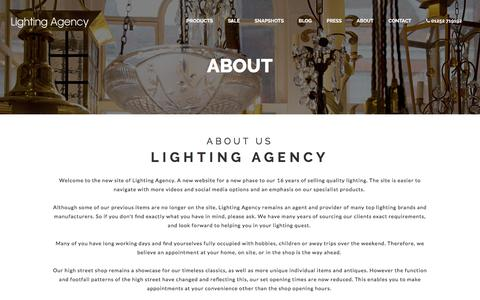 Screenshot of About Page lightingagency.co.uk - Lighting Agency | About Us - captured July 19, 2018