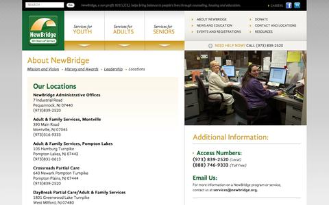 Screenshot of Locations Page newbridge.org - Counseling, housing and educational services, programs, workshops serving Morris and Passaic counties NJ | Counseling, addiction, housing, senior and youth services for Morris and Passaic counties New Jersey - captured Nov. 4, 2014
