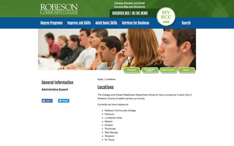 Screenshot of Locations Page robeson.edu - Robeson Community College - captured Nov. 2, 2017