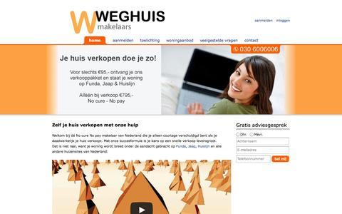 Screenshot of Home Page weghuis.nl - Zelf je huis verkopen - Weghuis Makelaars - captured Oct. 6, 2014