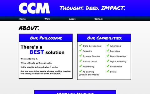 Screenshot of About Page ccmthinkimpact.com - CCM - Thought. Deed. IMPACT. | About - captured Oct. 1, 2014