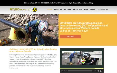 Screenshot of Home Page 2020ndt.com - 1-866-930-6220 X-Ray Grande Prairie | 20/20 NDT Inc. - captured Oct. 18, 2018