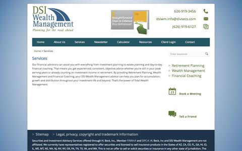 Screenshot of Products Page Services Page dsiwm.com - Services | DSI Wealth Management - captured Oct. 23, 2014
