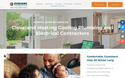 Screenshot of Services Page gorjanc.com - Cleveland Ohio Heating Cooling Plumbing and Electrical Contractors - captured Nov. 5, 2019
