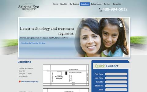 Screenshot of Locations Page arizonaeyes.net - Arizona Eye Specialists - We offer the complete range eye care services. - captured Oct. 4, 2014
