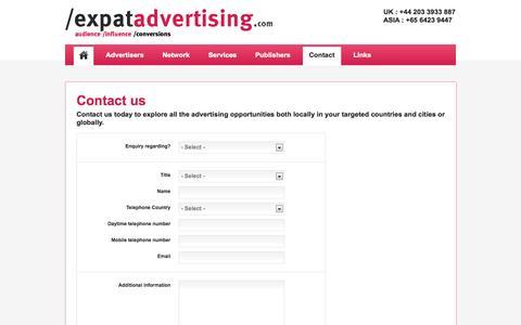 Screenshot of Contact Page expatadvertising.com - Contact us   Expat Advertising - captured Oct. 6, 2014