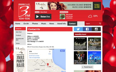 Screenshot of Contact Page three.fm - Contact Us | Contact | 3FM Isle of Man radio station - on-air, online, on Apple and on Android - captured Oct. 27, 2014