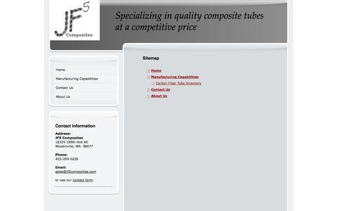 Screenshot of Site Map Page jf5composites.com - Manufacturer of Custom Carbon Fiber tubes, Fiberglass tubes, and Aramid Composite tubes - captured Sept. 30, 2014