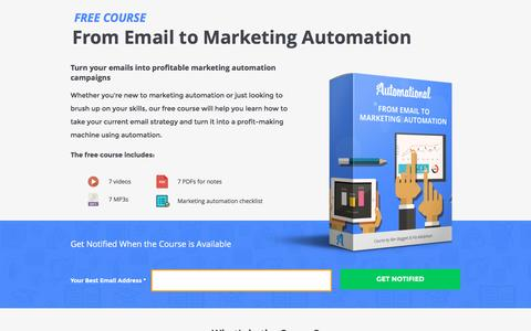 Screenshot of Landing Page automational.com - Email Marketing Automation Course - From Email to Marketing Automation | Automational - captured Oct. 22, 2016