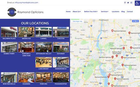 Screenshot of Locations Page raymondopticians.com - Locations in New York - Raymond Opticians - captured Sept. 20, 2018