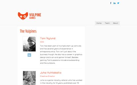 Screenshot of Team Page vulpinegames.com - Team - captured Oct. 7, 2014