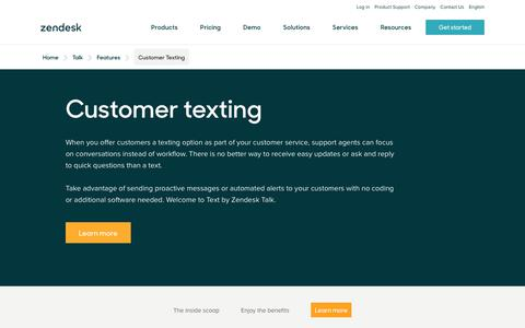 Screenshot of Support Page zendesk.com - Customer Texting with Zendesk Talk - captured Aug. 4, 2018