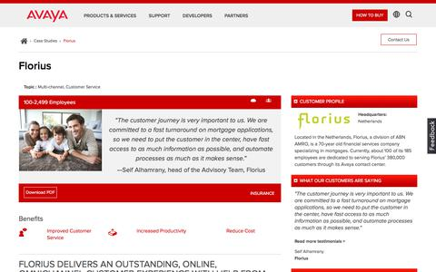 Screenshot of Case Studies Page avaya.com - Florius Revitalizes Customer Experience with Avaya Call Center Solutions - captured May 3, 2018