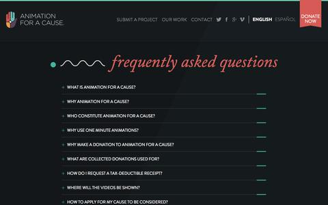 Screenshot of FAQ Page animationforacause.org - Questions- Animation for a Cause - captured Sept. 30, 2014