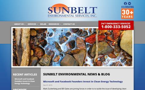 Screenshot of Blog sunbeltenv.com - Sunbelt Environmental Blog - captured Feb. 16, 2016