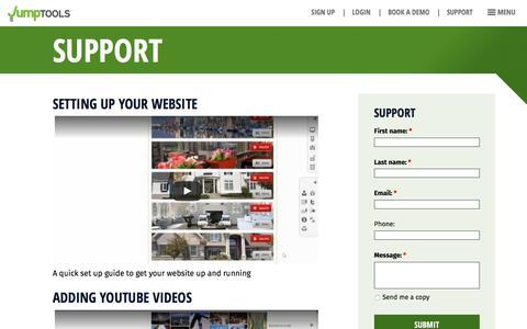Screenshot of Support Page jumptools.com - Support – Jumptools - captured Aug. 8, 2016